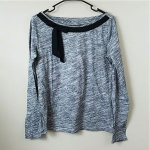 Ann Taylor LOFT Heathered Gray Bow Detail Top
